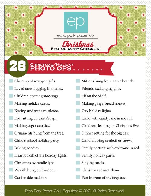 Christmas Photography checklist