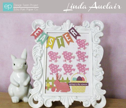 Linda Auclair decorated Easter frame banner