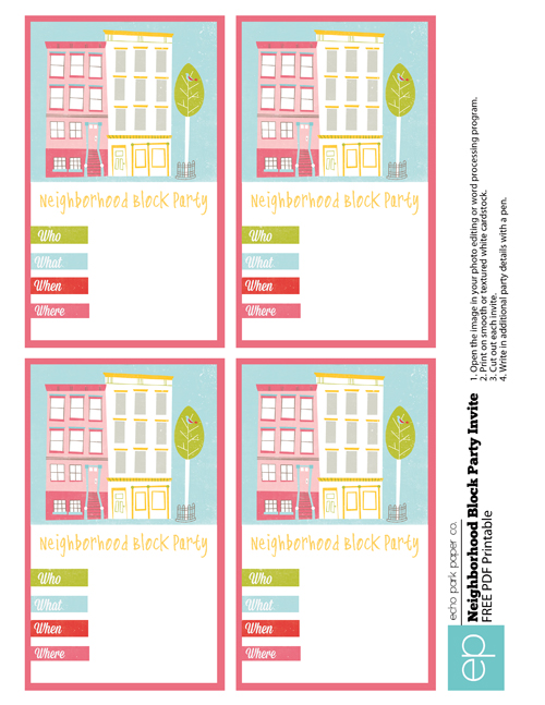 summer camp freebie neighborhood party invites  echo park paper, invitation samples