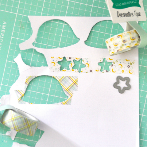 9780a9c33dc6f My focus for this card was how to use washi tape in a fun way! I tried to  apply the washi tape to my die cuts in two ways