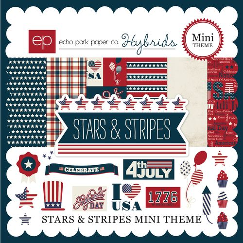 Echo Park ~ STARS /& STRIPES ~ Mini Themes Collection Kit ~ 12x12