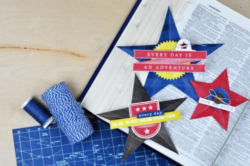 Pinstripes Folded 3d Stars by Jen Gallacher for Echo Park Paper