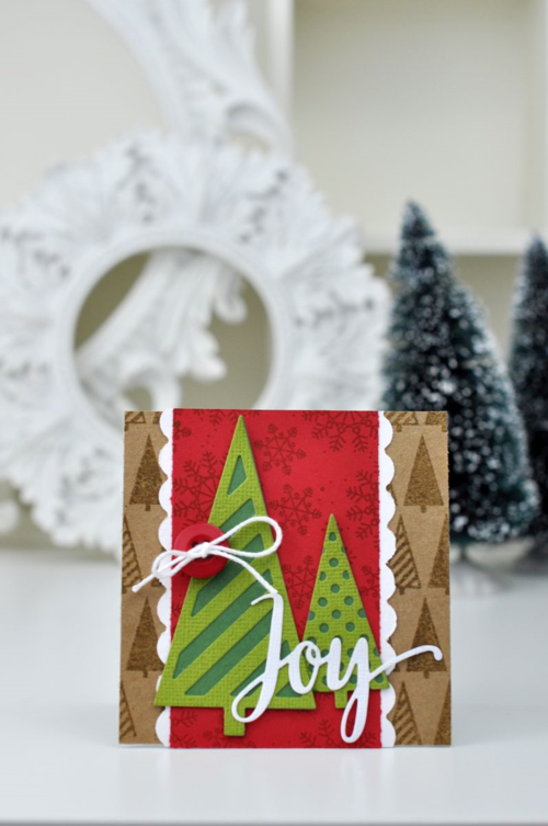 Joy Holiday Die Cut and Stamped Card Vertical Photo by Jen Gallacher