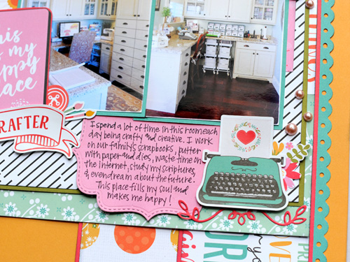 "This is My Happy Place Scrapbook Layout by Jana Eubank featuring the ""I Heart Crafting"" collection by #EchoParkPaper"