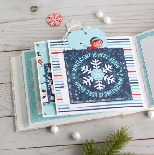 "Winter themed mini album by Anya Lunchenko featuring the ""Celebrate Winter"" collection by #EchoParkPaper"