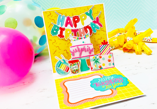 "Happy Birthday Pop-Up Card by Dorymar Perez for #EchoParkPaper featuring the ""Let's Party"" collection"