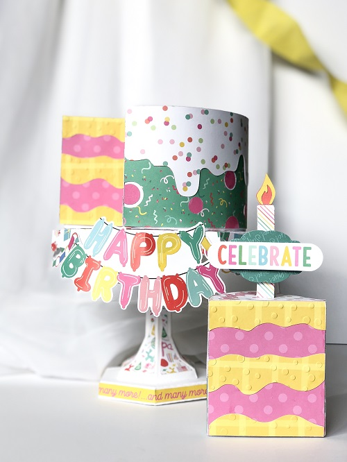 Let's Party 3D Birthday Cake by Michelle Zerull for Echo Park Paper featuring Designer Dies and Silhouette Die Cut Shapes