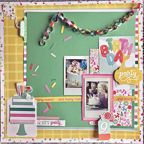 "Birthday Party layout by Megan Hoeppner featuring the ""Let's Party"" Collection by #EchoParkPaper"