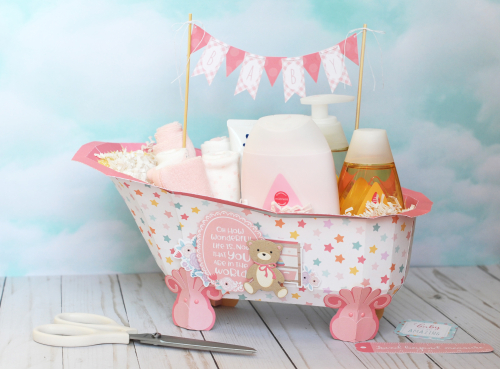 "Baby Bathtub Gift Set by Jana Eubank for #EchoParkPaper featuring the ""Hello Baby Girl"" collection kit"