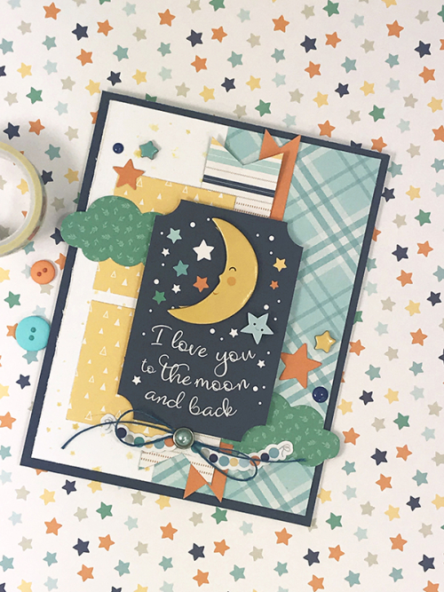 "Love You to the Moon Card by Tya Smith featuring the ""Hello Baby Boy"" collection by #EchoParkPaper"