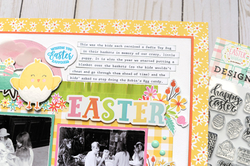 """Easter Scrapbook Layout by Jana Eubank for #EchoParkPaper featuring the """"Easter Wishes"""" collection."""