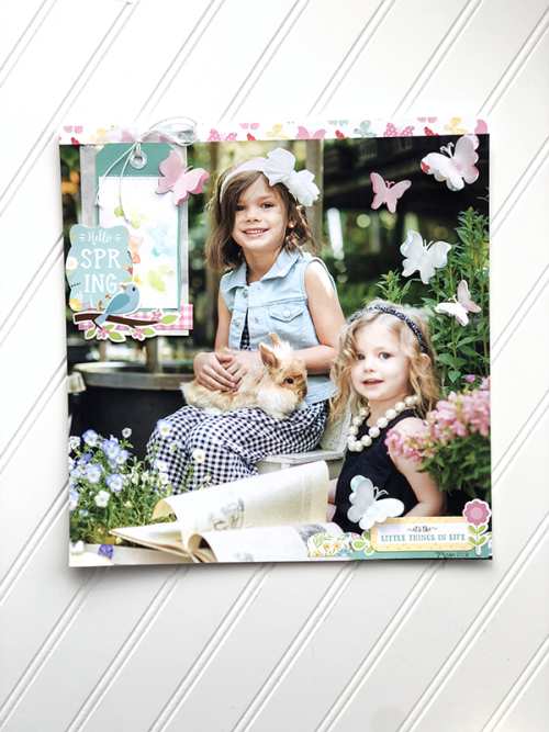 "Spring Layout by Megan Hoeppner featuring the ""Spring Fling"" collection and designer stencil by #EchoParkPaper"