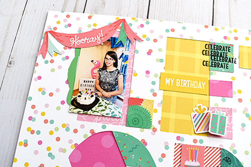 "Birthday Scrapbook Layout by Suzanna Lee for #EchoParkPaper featuring the ""Let's Party"" collection"