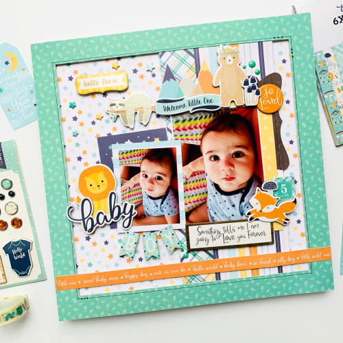 "Baby Boy layout by Dorymar Perez for #EchoParkPaper featuring the ""Hello Baby Boy"" Collection"