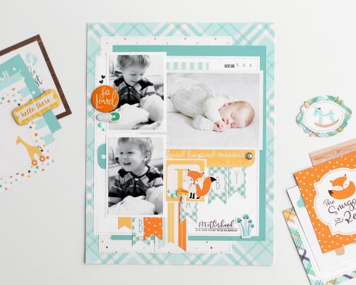 Orange Echo Park Paper Company Hello Baby Boy Ephemera Teal Yellow Navy