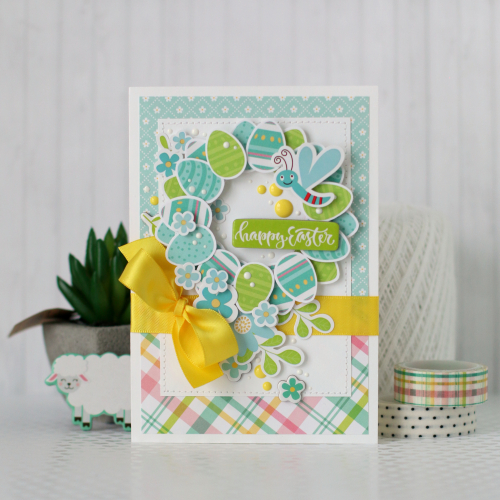 "Easter Egg Wreath cards by Anya Lunchenko for #EchoParkPaper featuring the ""Easter Wishes"" collection"
