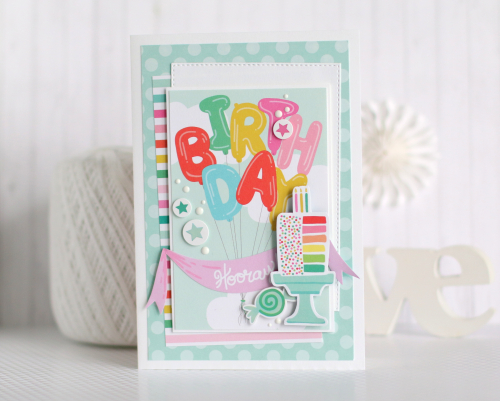 "Birthday Card Set by Anya Lunchenko featuring the ""Let's Party"" Collection by #EchoParkPaper"