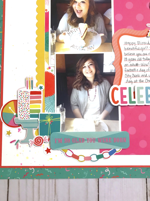 "Birthday layout by Tya Smith featuring the ""Let's Party"" collection by #EchoParkPaper"