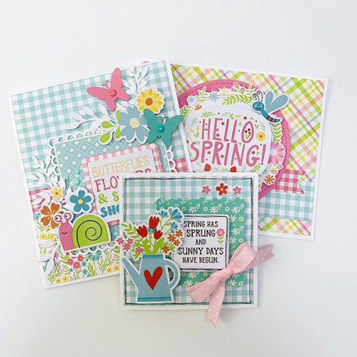 "Spring Card Trio by Dorymar Perez featuring the ""Spring Fling"" collection by #EchoParkPaper"