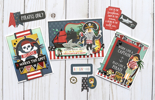 """Pirate Tales"" card trio by Jana Eubank for #EchoParkPaper"