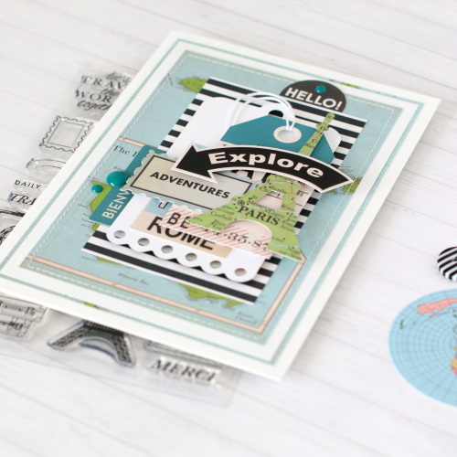 "Travel card by Anya Lunchenko featuring the ""Cartography No. 1"" collection by #CartaBellaPaper"