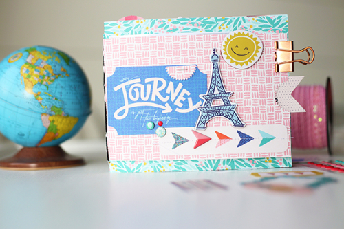 "Travel mini album by Megan Hoeppner featuring the ""Let's Travel"" collection by #CartaBellaPaper"