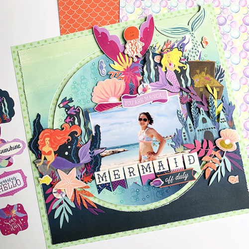 "A lovely mermaid scrapbook layout by Dorymar Perez featuring the ""Mermaid Dreams"" collection by #EchoParkPaper"