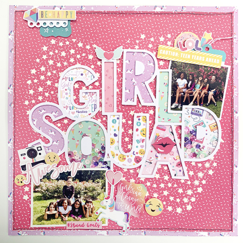 "Girl Squad layout by Dorymar Perez featuring the ""Teen Spirit Girl"" collection by #EchoParkPaper"