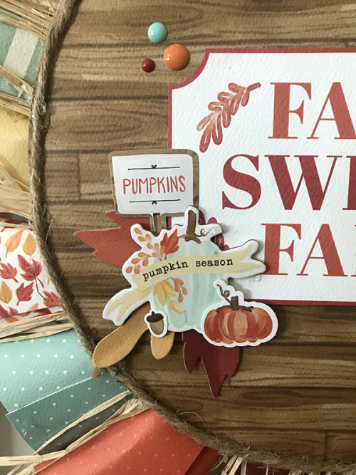 """Fall Sweet Fall"" Autumn wreath by Tya Smith featuring the ""Fall Market"" paper collection by #CartaBellaPaper"