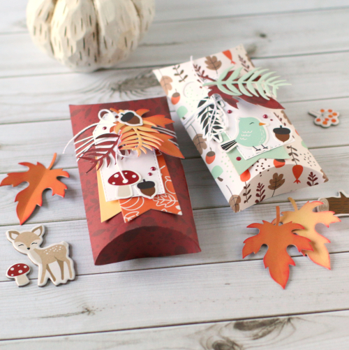 "Autumn Pillow Boxes by Anya Lunchenko for #EchoParkPaper with the ""My Favorite Fall"" Collection"