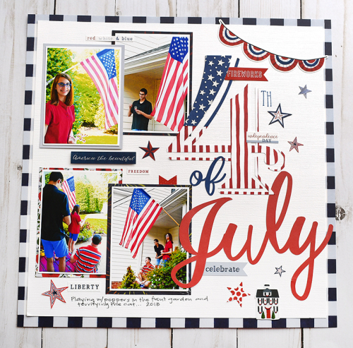 "4th of July Scrapbook page by Suzanna Lee featuring the ""America the Beautiful"" collection by #EchoParkPaper"