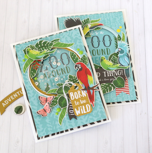 """It's a Zoo Around Here"" Card Set by Anya Lunchenko featuring the ""Animal Safari"" collection by #EchoParkPaper"