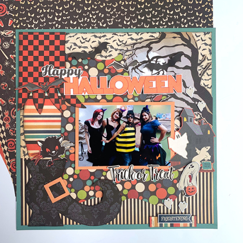 "Trick or Treat layout by Dorymar Perez featuring the ""Happy Halloween"" collection by #CartaBellaPaper"