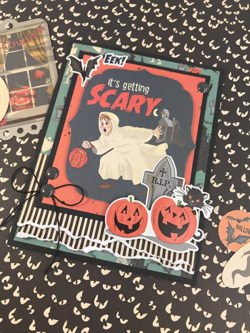 "Scary Halloween card by Tya Smith featuring the ""Happy Halloween"" collection by #CartaBellaPaper"