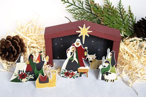 "Paper Nativity by Michelle Zerull featuring the ""Away In a Manger"" collection by #EchoParkPaper"