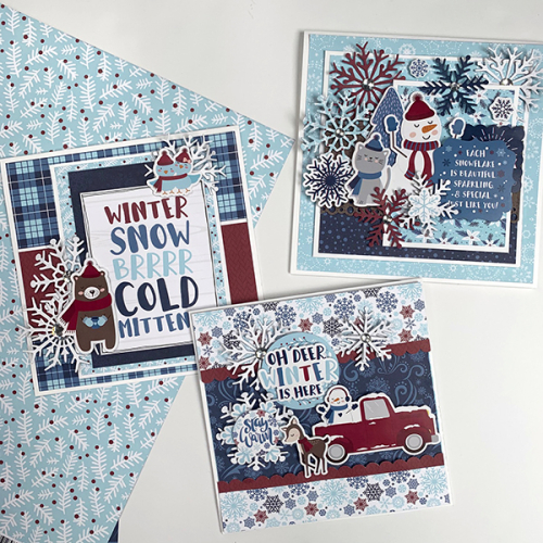 "Beautiful Winter cards by Dorymar Perez for #EchoParkPaper featuring the ""My Favorite Winter"" collection"
