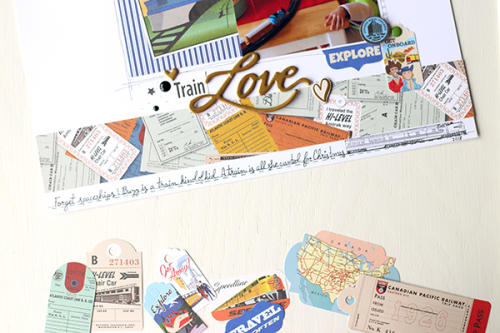 "Train Love layout by Megan Hoeppner featuring the ""All Aboard"" collection by #CartaBellaPaper"