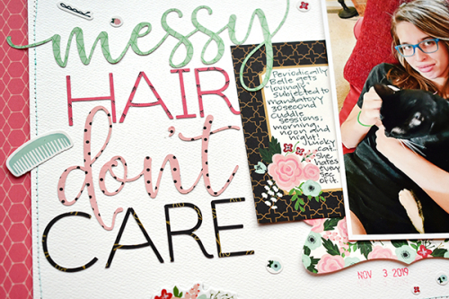 """Messy Hair scrapbook layout by Suzanna Lee for #EchoParkPaper with the """"Salon"""" collection"""
