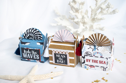 "Seashell Treat Boxes by Michelle Zerull with the ""Deep Blue Sea"" collection by #CartaBellaPaper"