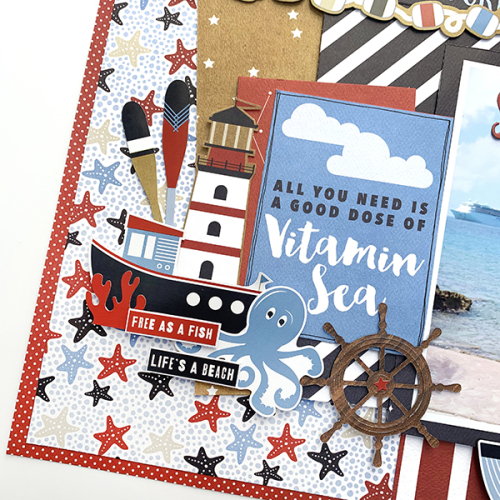 "Sail Away Layout by Dorymar Perez for #CartaBellaPaper featuring the ""Deep Blue Sea"" collection"