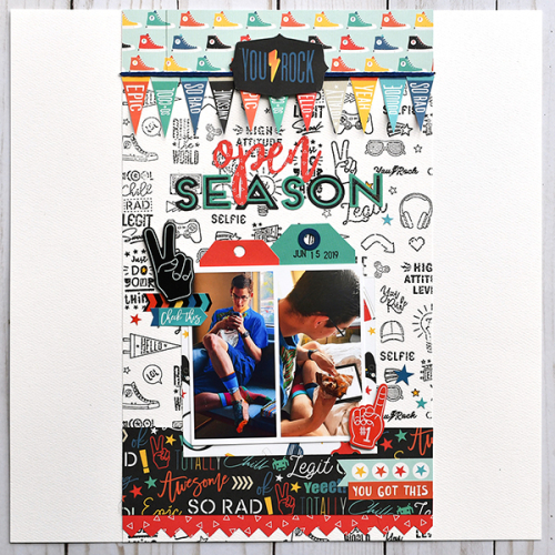 "Open Season layout by Suzanna Lee for #EchoParkPaper with the ""Teen Spirit Boy"" collection"