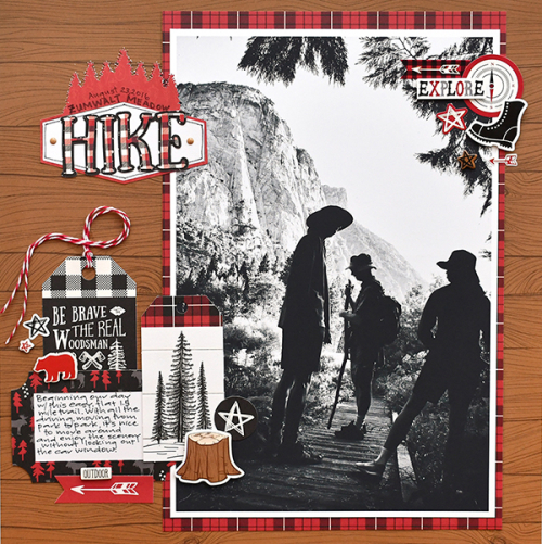 """Hike layout by Suzanna Lee featuring the """"Little Lumberjack"""" collection by #EchoParkPaper"""