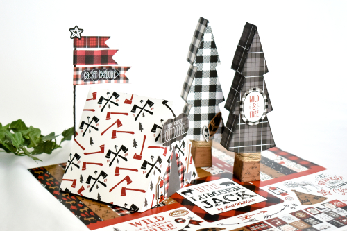 """Woodsy gift boxes by Michelle Zerull for #EchoParkPaper featuring the """"Little Lumberjack"""" collection kit"""
