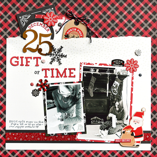 """The Gift of Time scrapbook layout by Suzanna Lee for #EchoParkPaper featuring the """"My Favorite Christmas"""" collection"""