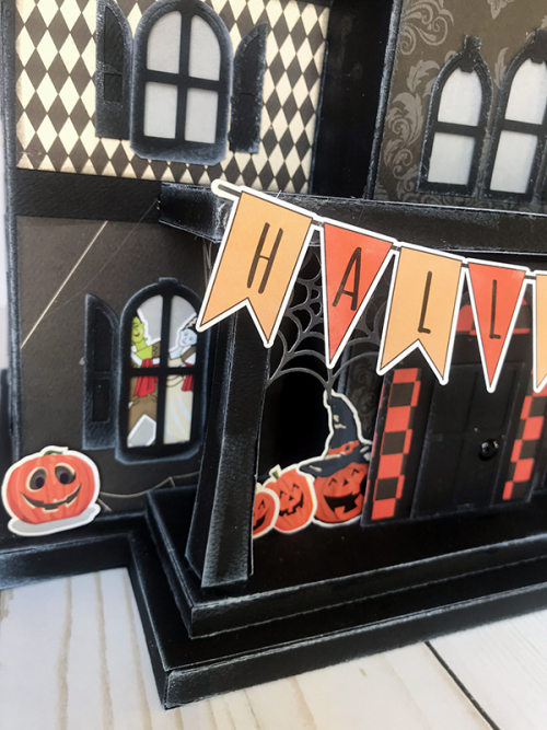 "3-D Haunted House by Wendy Sue Anderson for #CartaBellaPaper featuring the ""Happy Halloween"" collection and cut file by SVGCuts"