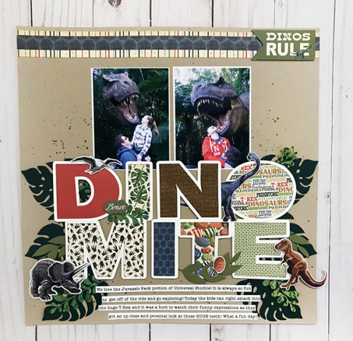 "Dinomite layout by Tya Smith featuring the ""Dinosaurs"" collection by #CartaBellaPaper"