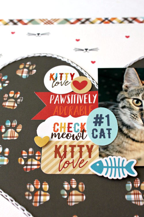 "Meow layout by Michelle Gallant featuring ""I Love My Cat"" by #EchoParkPaper"