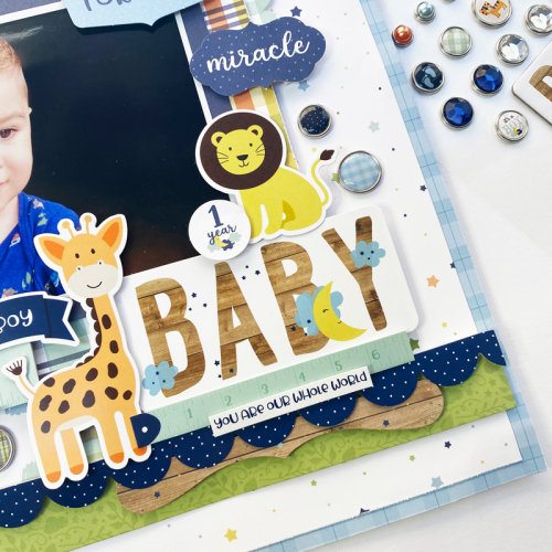 """Scrapbook layout by Dorymar Perez for #EchoParkPaper featuring the """"Baby Boy"""" Collection"""