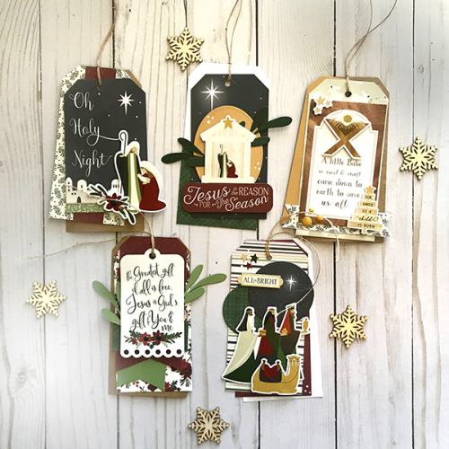 """Away In a Manger"" Christmas Tags by Tya Smith for #EchoParkPaper"