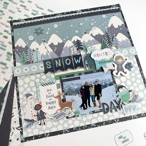 "Snow Day Layout by Dorymar Perez featuring the ""Snow Much Fun"" Collection by #CartaBellaPaper"